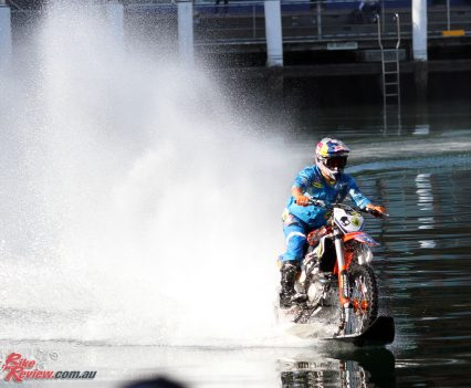 Robbie Maddison at Darling Harbour on the waterbike