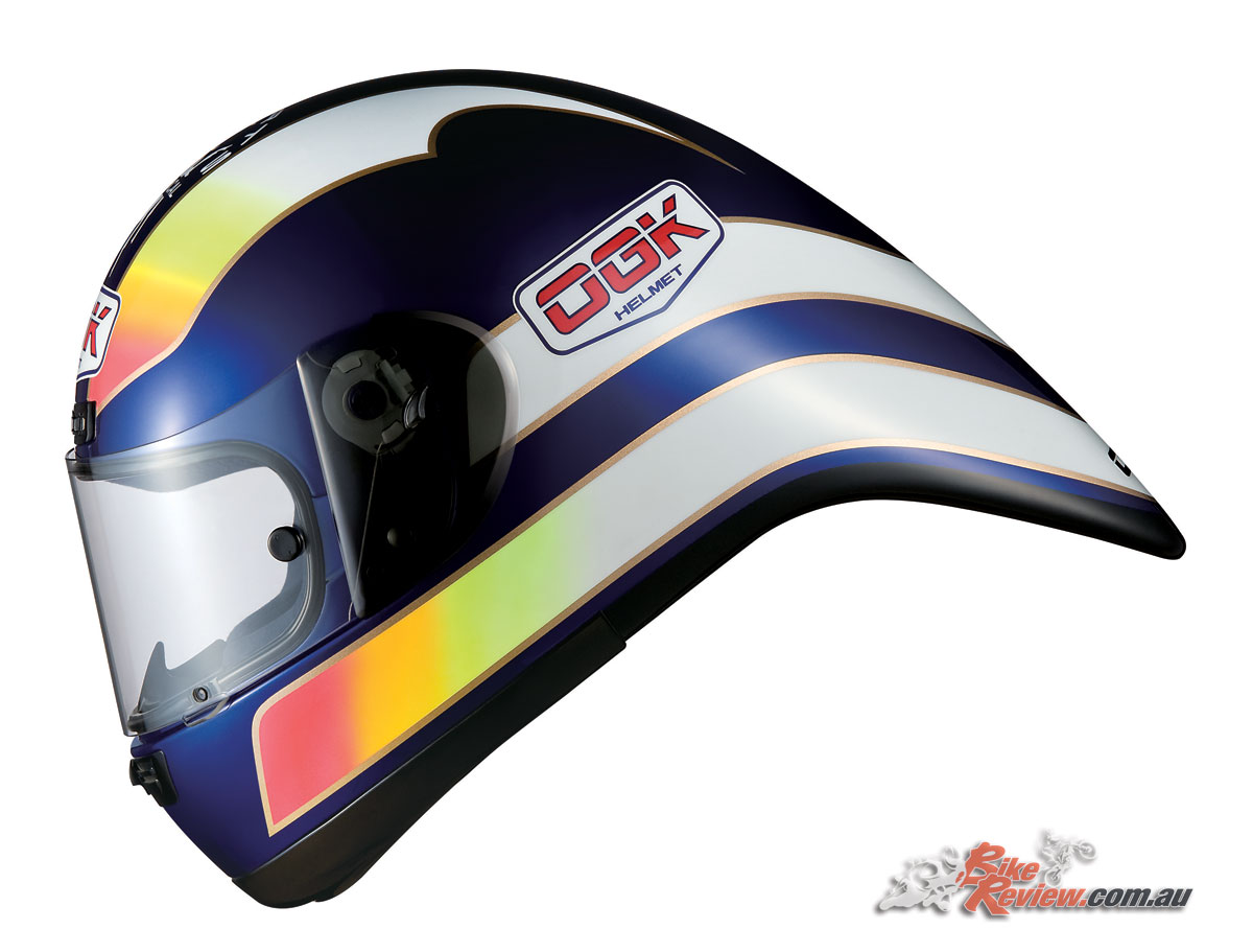 OGK were one of the first, if not the first, to pioneer the tear shaped helmet for bicycle racing