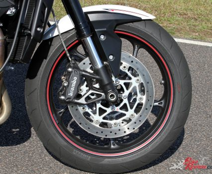 Front brakes on the Street Triple R should offer exceptional performance, but in this case were in need of bleeding.