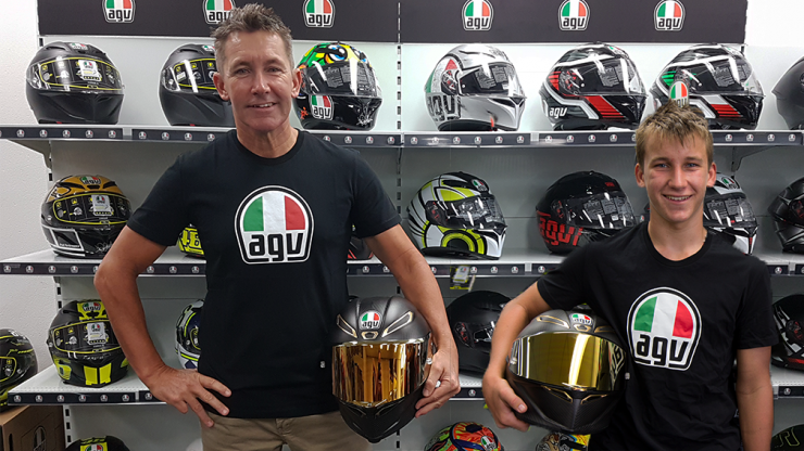 Troy and Oliver Bayliss with their new AGV Pista GP R helmets