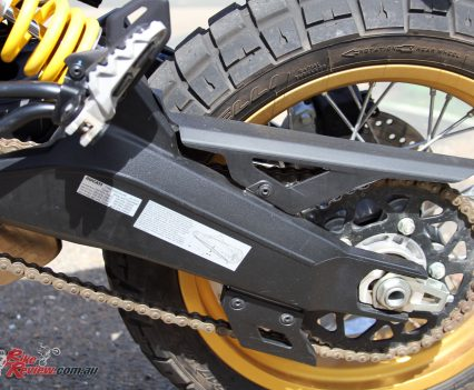 A lengthened swingarm and reinforced frame are just found on the Desert Sled