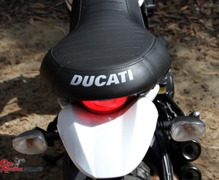 Ducati emblazoned across the back of the seat is very retro