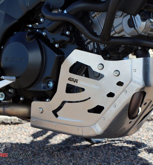 Givi Skid Plate fitted to John's V-Strom 1000, along with crash bars and running lights