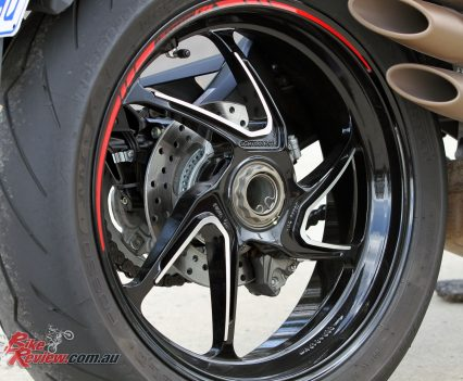 A 220mm rear rotor also features a Brembo caliper