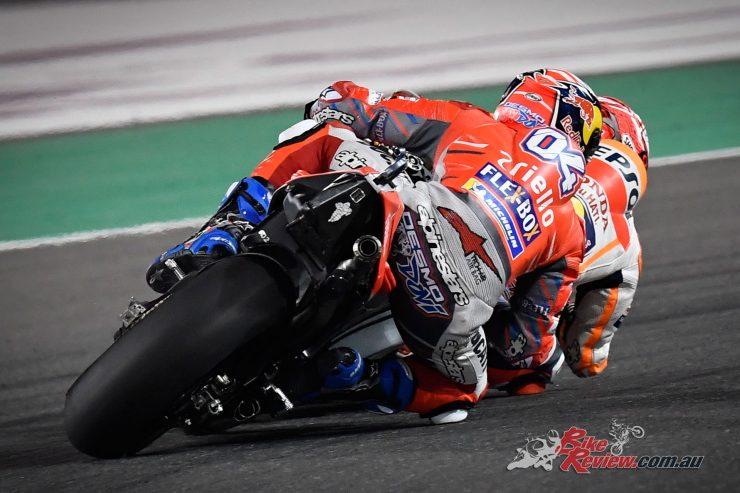 Andrea Dovizioso chases down Marc Marquez