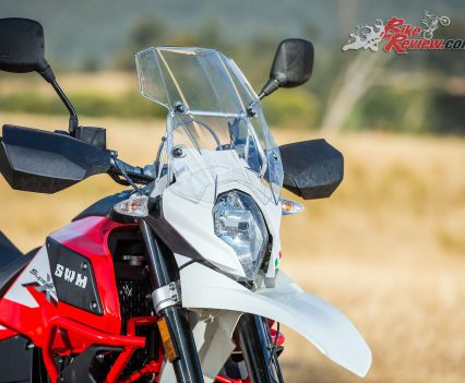 Australian 2018 SWM Superdual X Launch - Mount Buller - Bike Review - Front headlight, wheel and hand guards