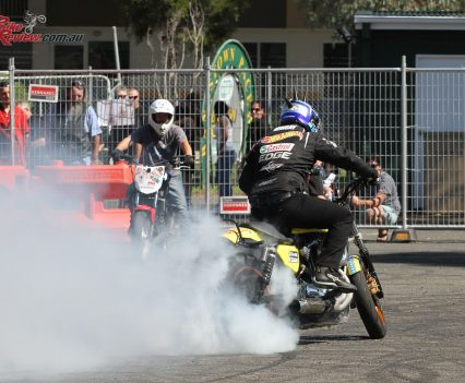 Matt Mingay smoking it up! 2018 Bankstown Custom Motorcycle Show