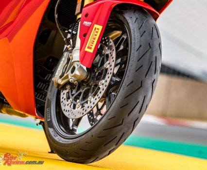 The front tyre is a three zone tyre.