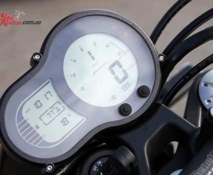 Digital dash is split into two sections and offers everything at a glance, with fuel gauge and gear indicator