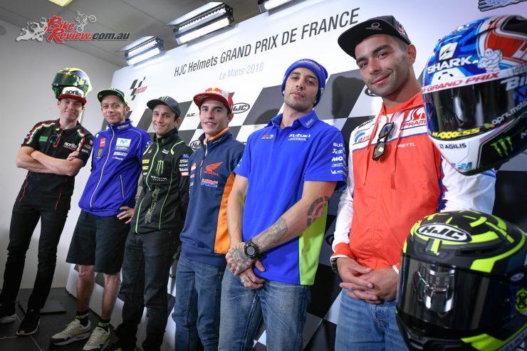 (L-R) Espargaro, Rossi, Zarco, Marquez, Iannone and Petrucci