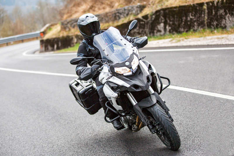 2018 Benelli TRK 502 with panniers.