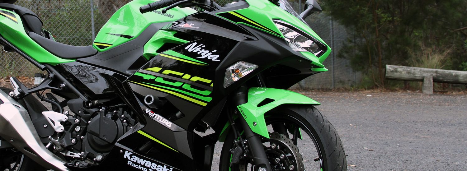 Our Long Term Kawasaki Ninja 400 all kitted out in Oggy Knobbs!