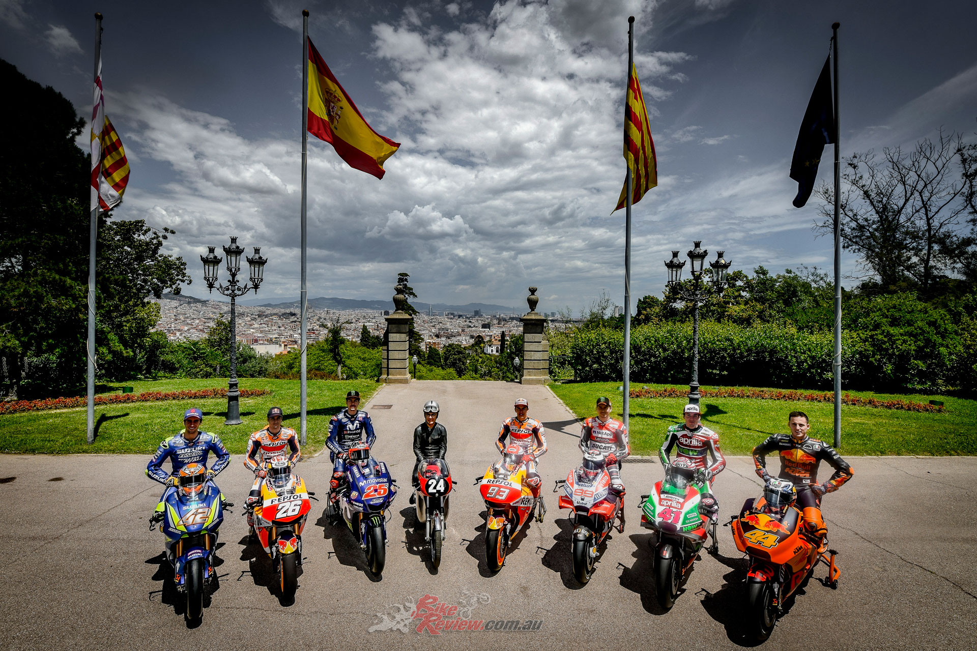 Rins, Pedrosa, Viñales, Cañellas on his Bultaco TSS 125, Marquez, Lorenzo, Aleix Espargaro and Pol Espargaro