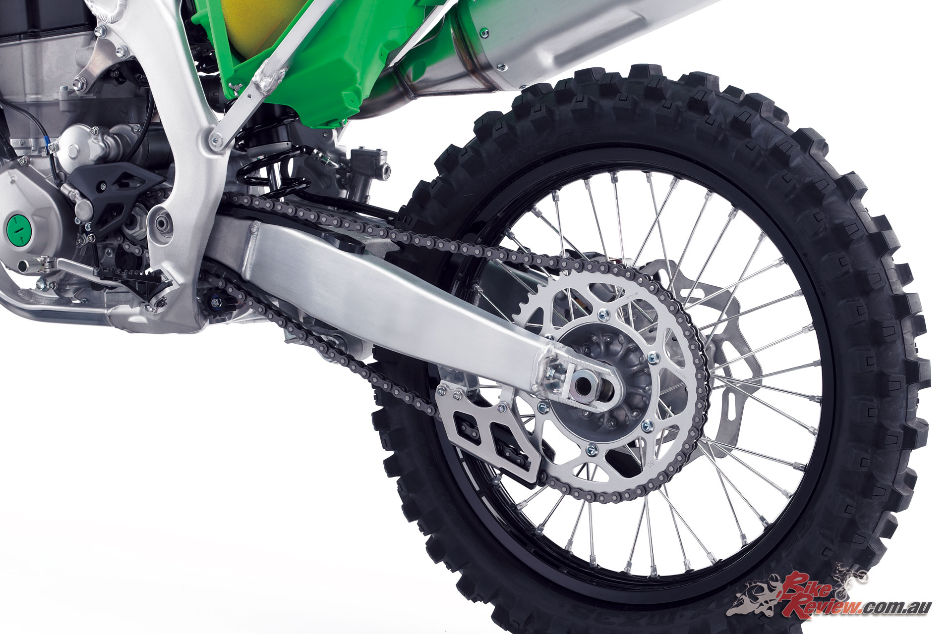 The swingarm on the KX450 has also been revised, with a new Uni-Trak shock, while a 250mm rear petal rotor offers plentiful power