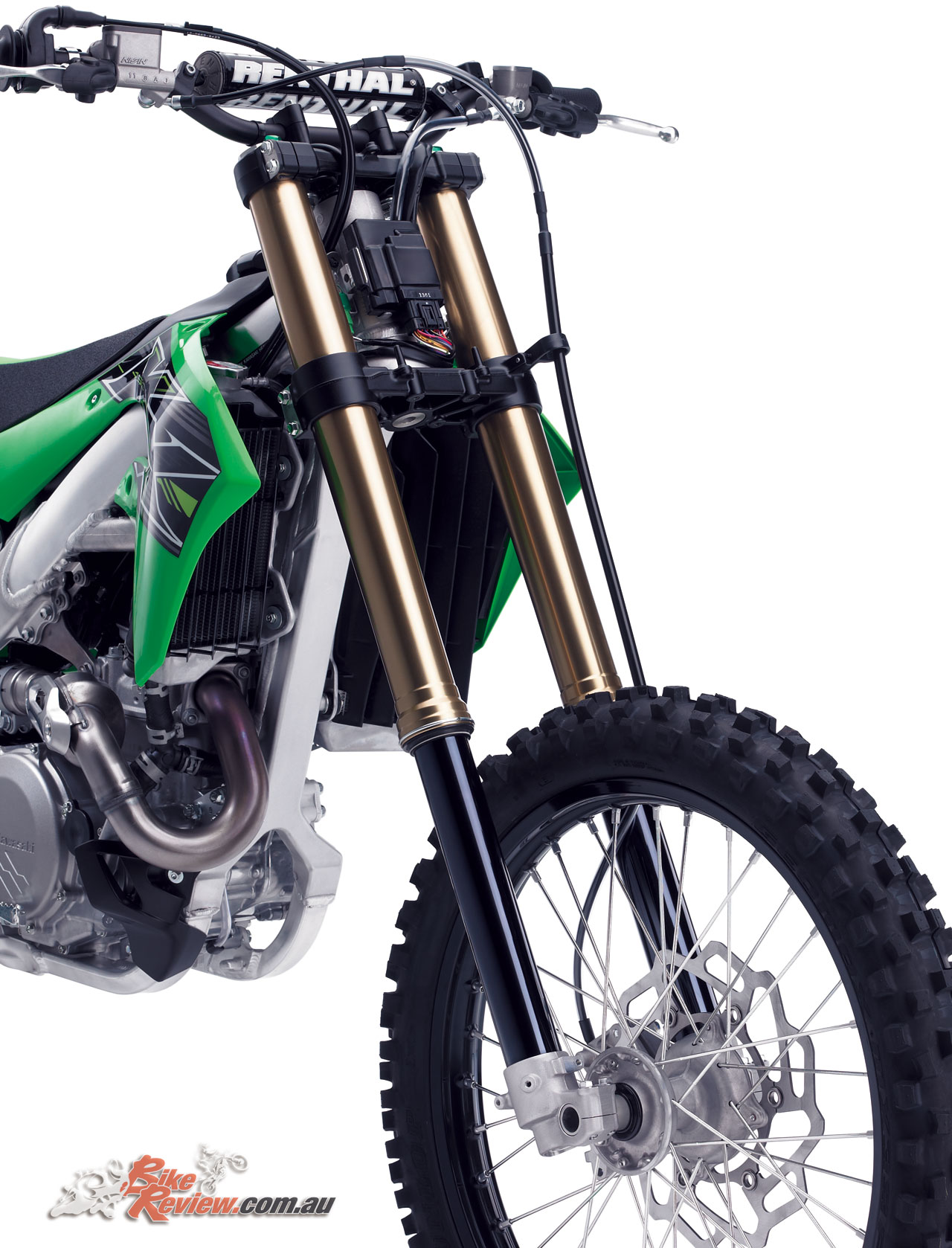 2019 also marks a return to spring forks with the KX450, with Showa 49mm forks fitted
