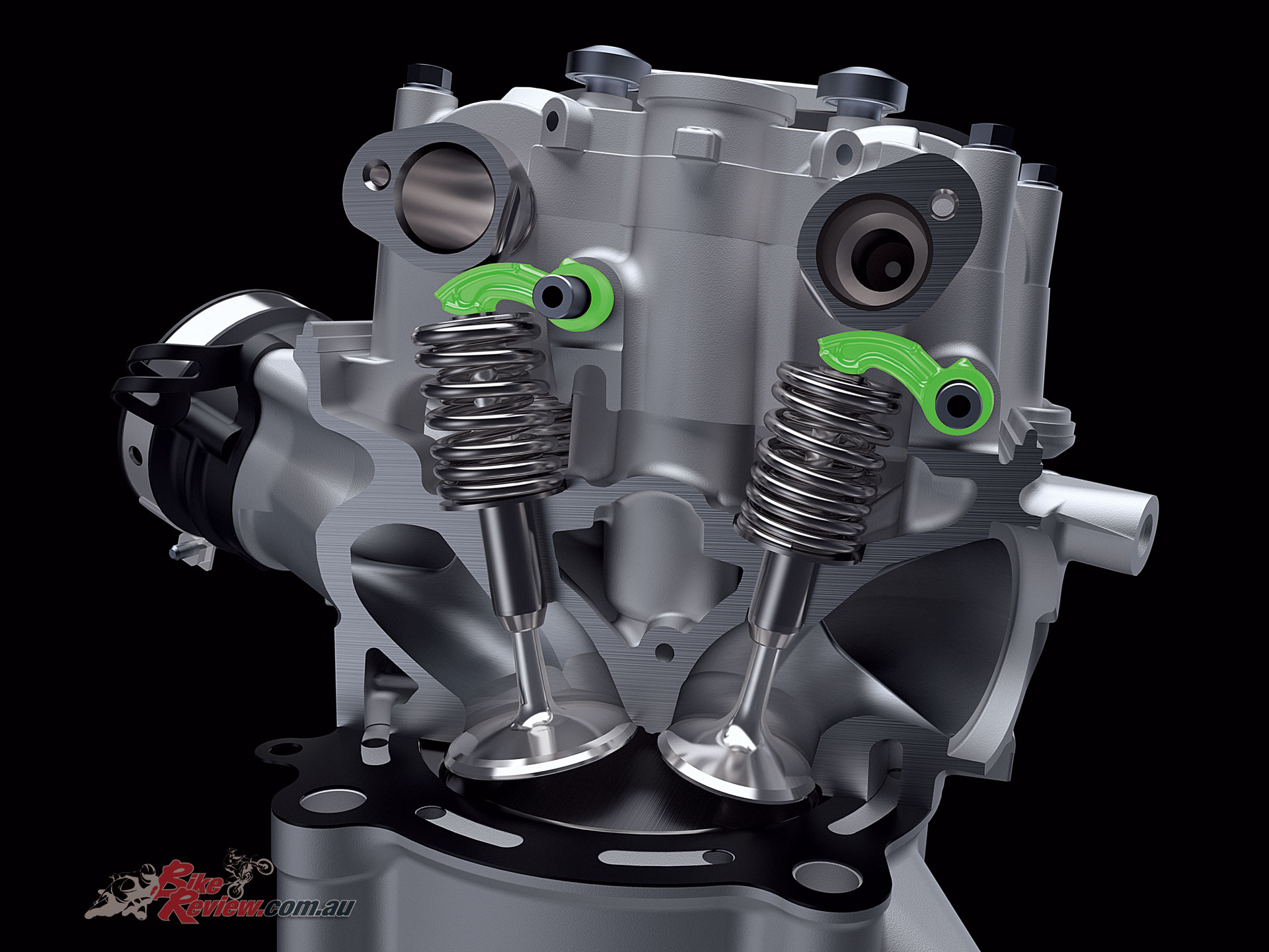 On the 2019 KX450 utilising the finger follower valve design has reduced the overall mass of the valve train, though valves are of a larger diameter