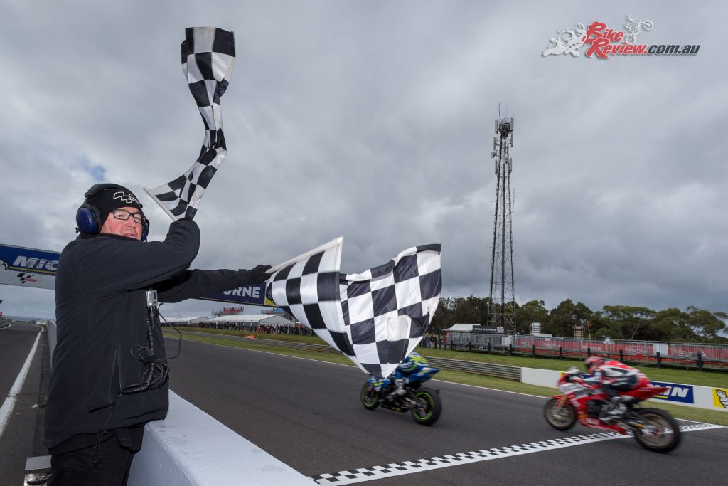 Brendan's flag waving enthusiasm does not change from rider to rider, regardless of position.