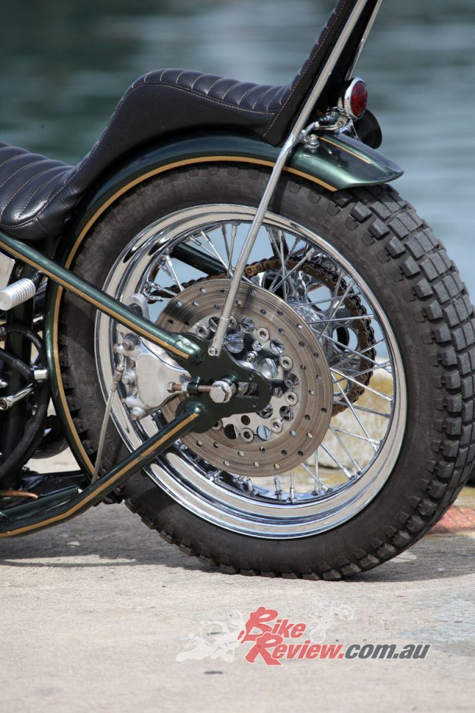 The only stopping power comes from the rear four-pot caliper and floating rotor.