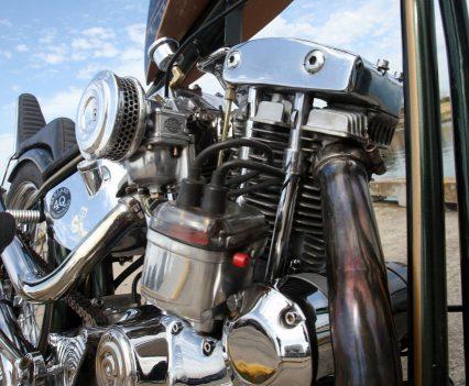 Custom exhaust system, 1979 Iron Head engine.