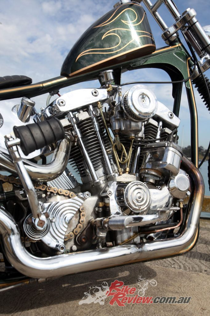 The Iron Head has larger valves, Andrews camshafts, an S&S Super E carb, custom pipes and is standard capacity.