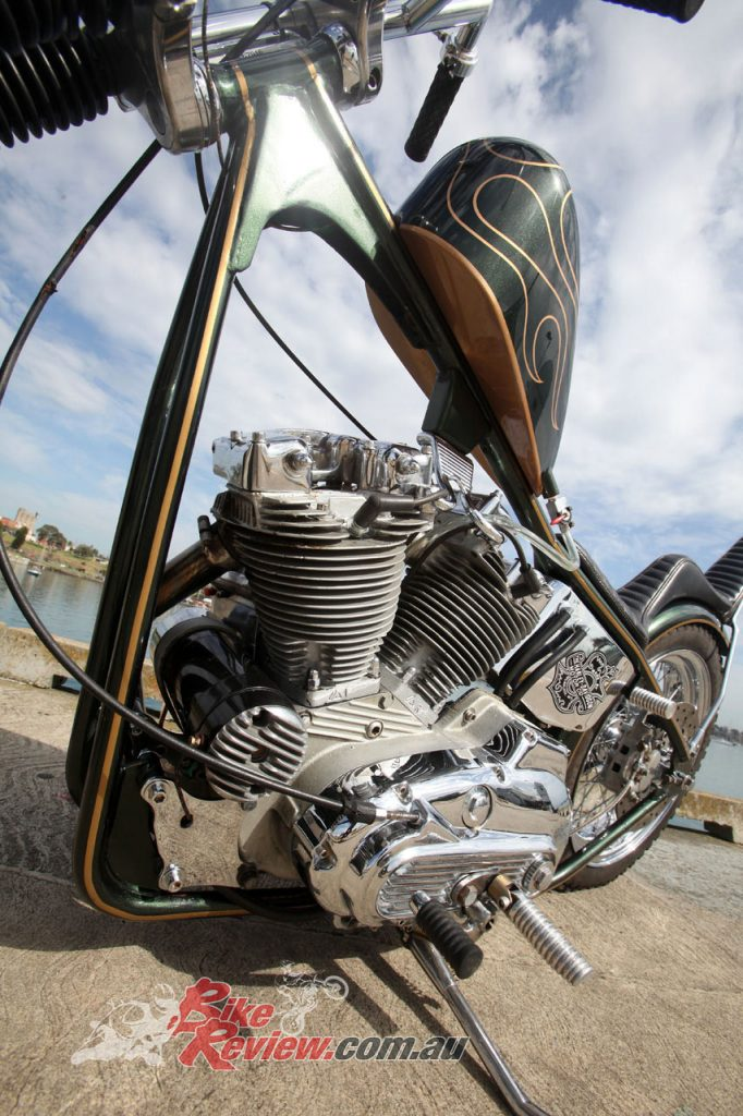 The tank is a Throttle Addiction narrowed Sporty that has been painted by Karl from KDS Design.