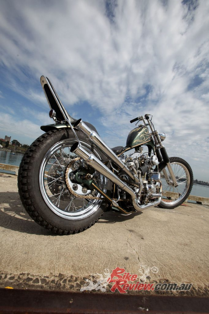 The bike is a traditional styled chopper based around a modified Paughco rigid frame.