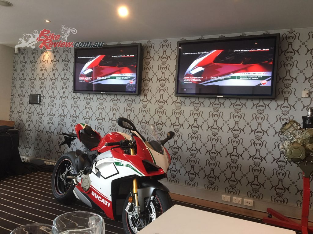 We had a Panigale V4 Speciale to drool over during the media intro. There are 80 of 1500 Speciale's on the way to Australia and they start at $59,990 a pop.