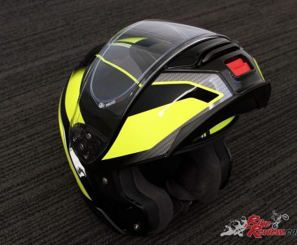 Helmet in flipped-up configuration