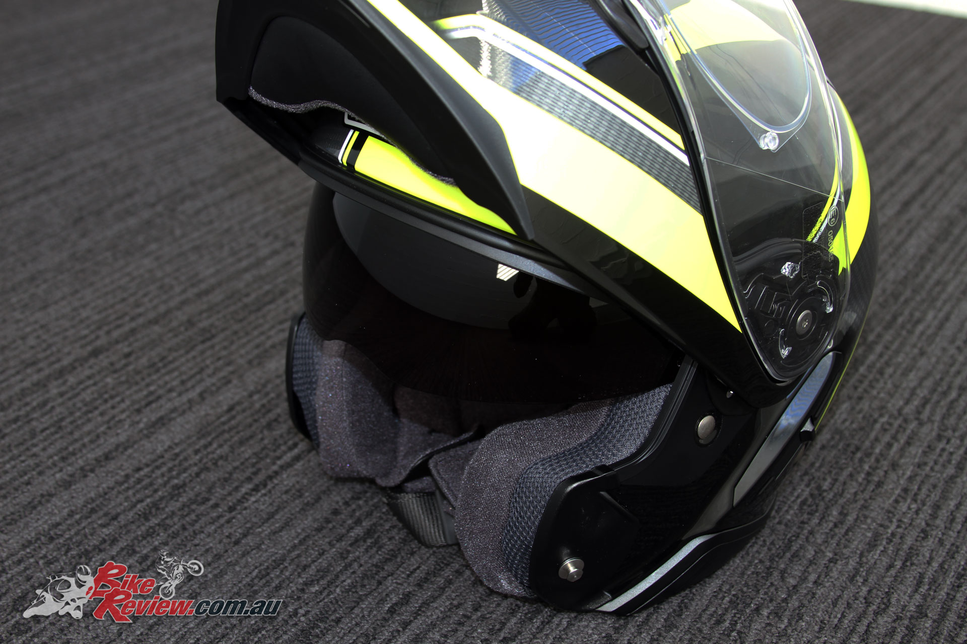 Shoei Neotec II with front up and internal visor down