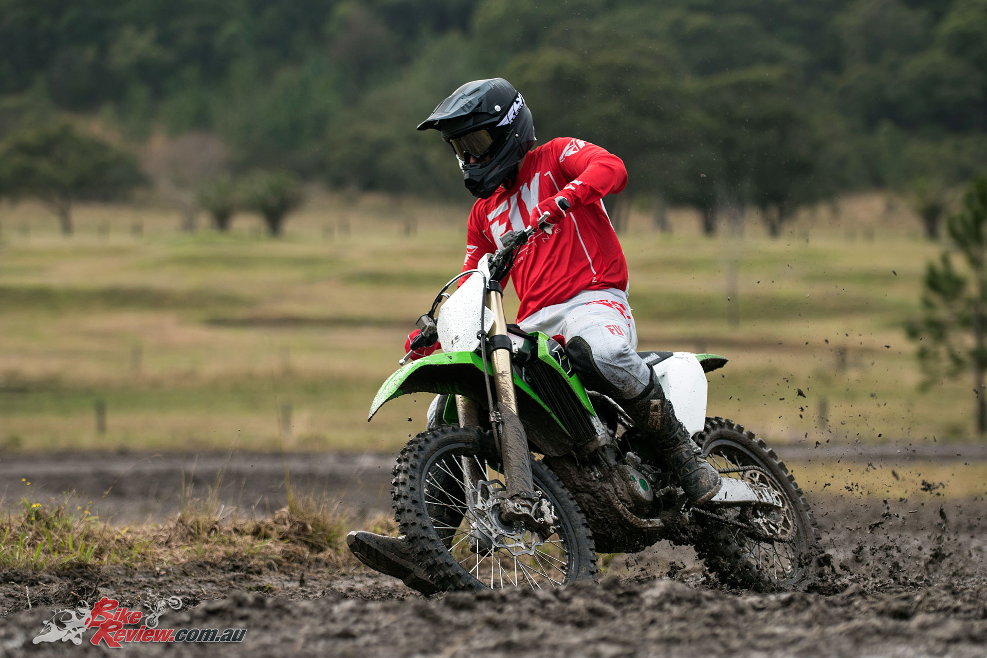 The muddy track proved a challenge for fully testing the new suspension setup