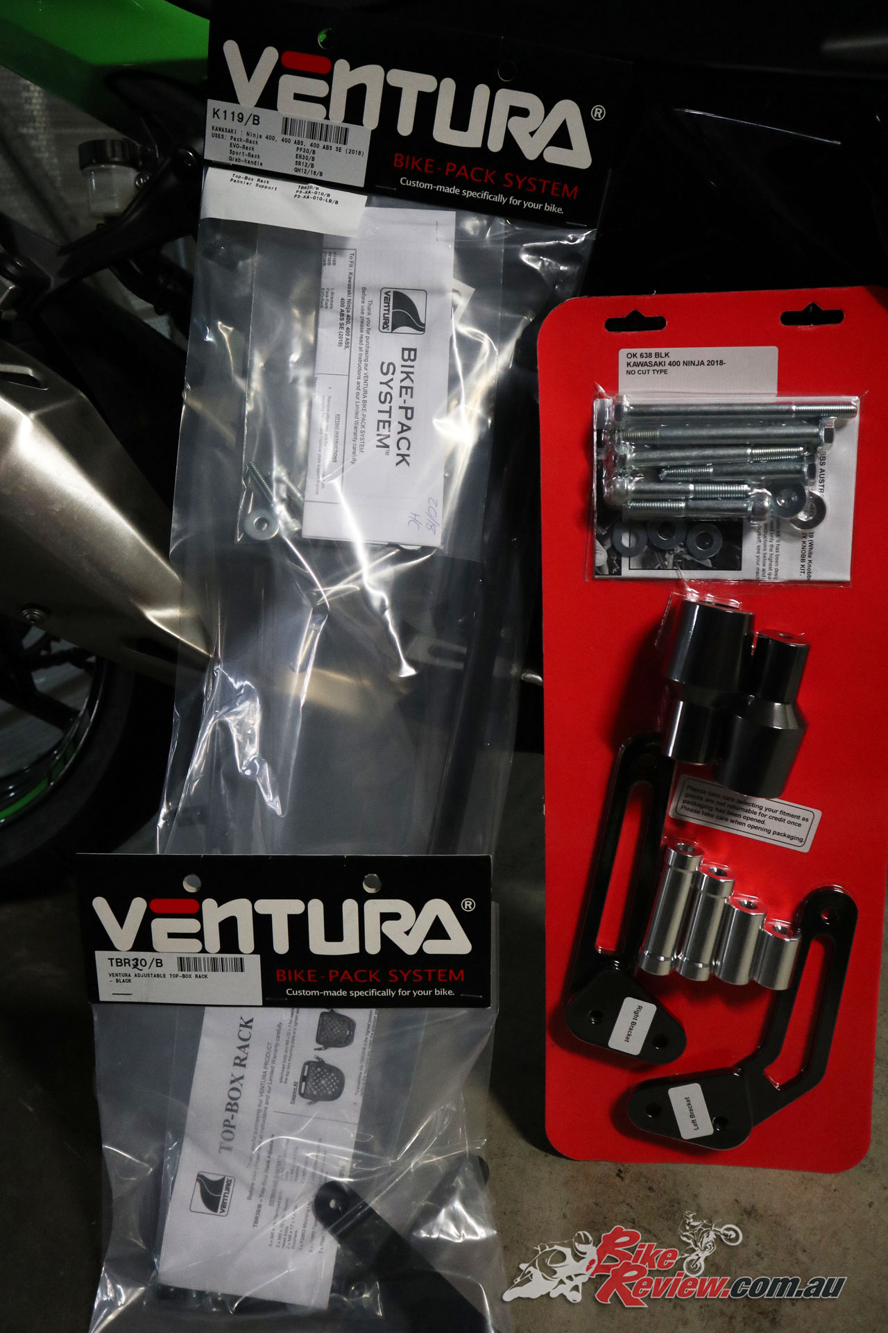 Ventura L-Brackets for the Ninja 400 (make sure you get them for the right model!)