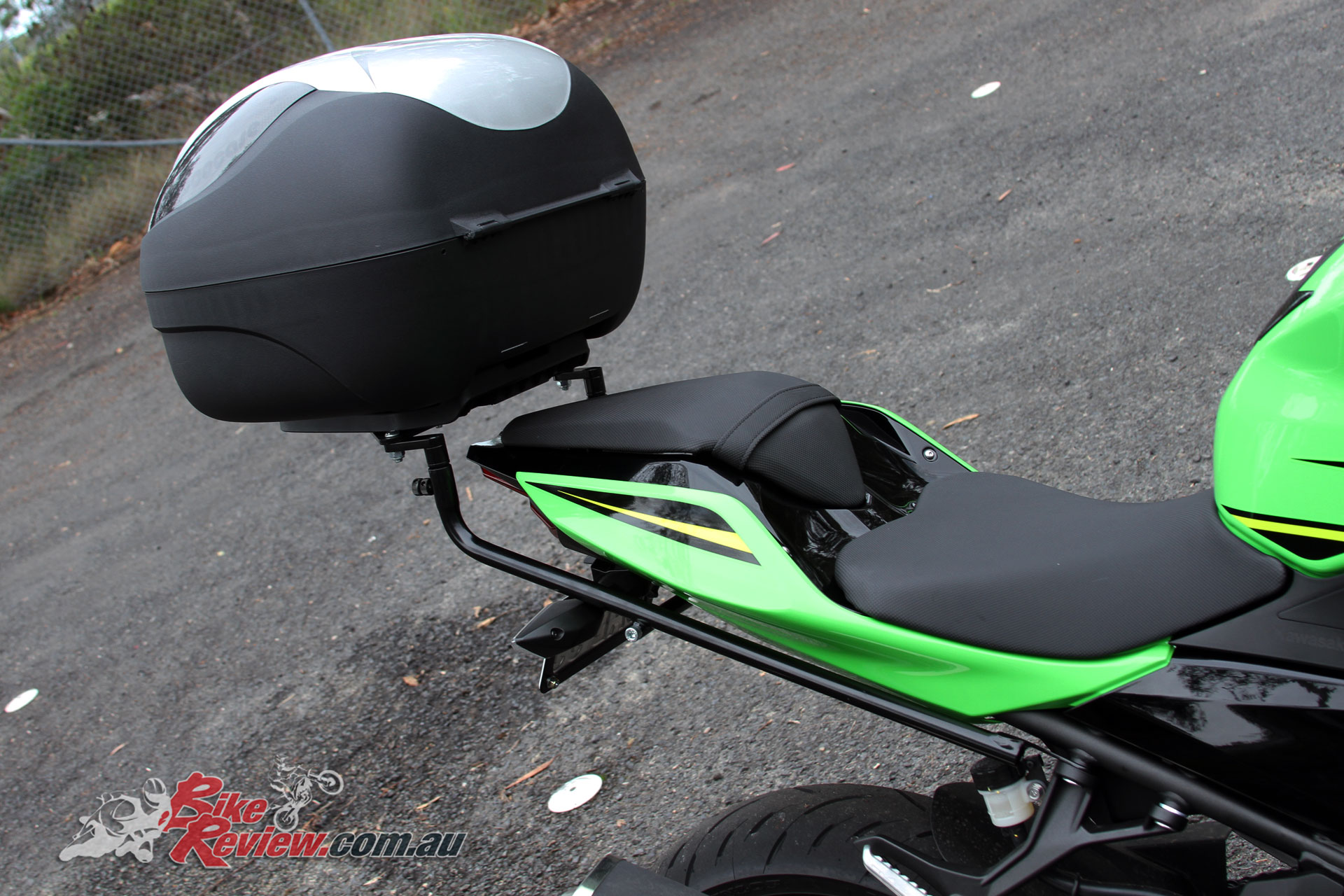 We fit a Ventura rack, Coocase 36L Wizard topbox and Oggy Fender Eliminator to our Long Term Ninja 400