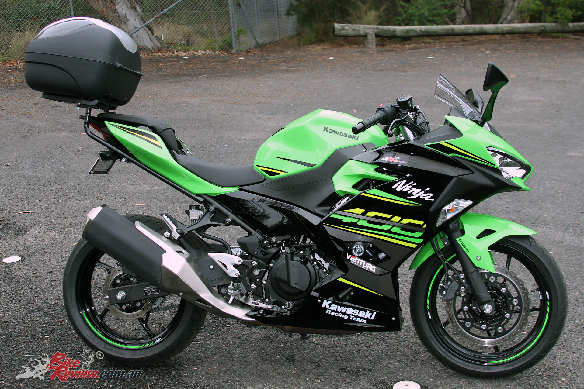 Our Long Term Ninja 400, now kitted out with Ventura rack, Coocase 36L Wizard top box, Oggy Fender Eliminator and in desperate need of an exhaust!