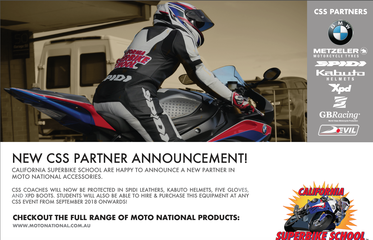 Moto National Accessories have partnered with California Superbike School to deck the instructors out in Five gloves, XPD boots. Sidi leathers and Kabuto helmets.