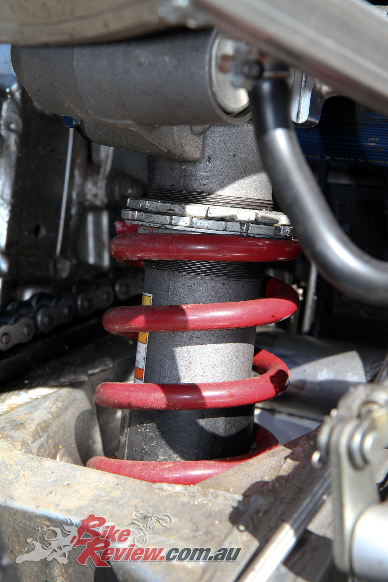 A later generation GSX-R shock was fitted for greater adjustability