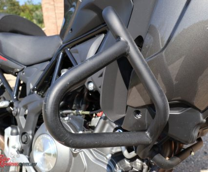 2018 Benelli TRK 502X - Standard crash bars offer good protection and are ready for spotlights