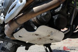 2018 Benelli TRK 502X - The sump guard seems a bit small to fully protect the oil filter, but will help when bottoming out the belly of the bike over obstacles