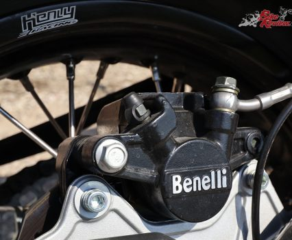 Brakes as basic with dual piston front calipers and a single piston rear, but modulation and power are good.