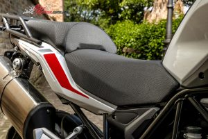 2018 Benelli TRK 502X - A taller 850mm seat is comfortable and leaves the rider in, rather than on the bike