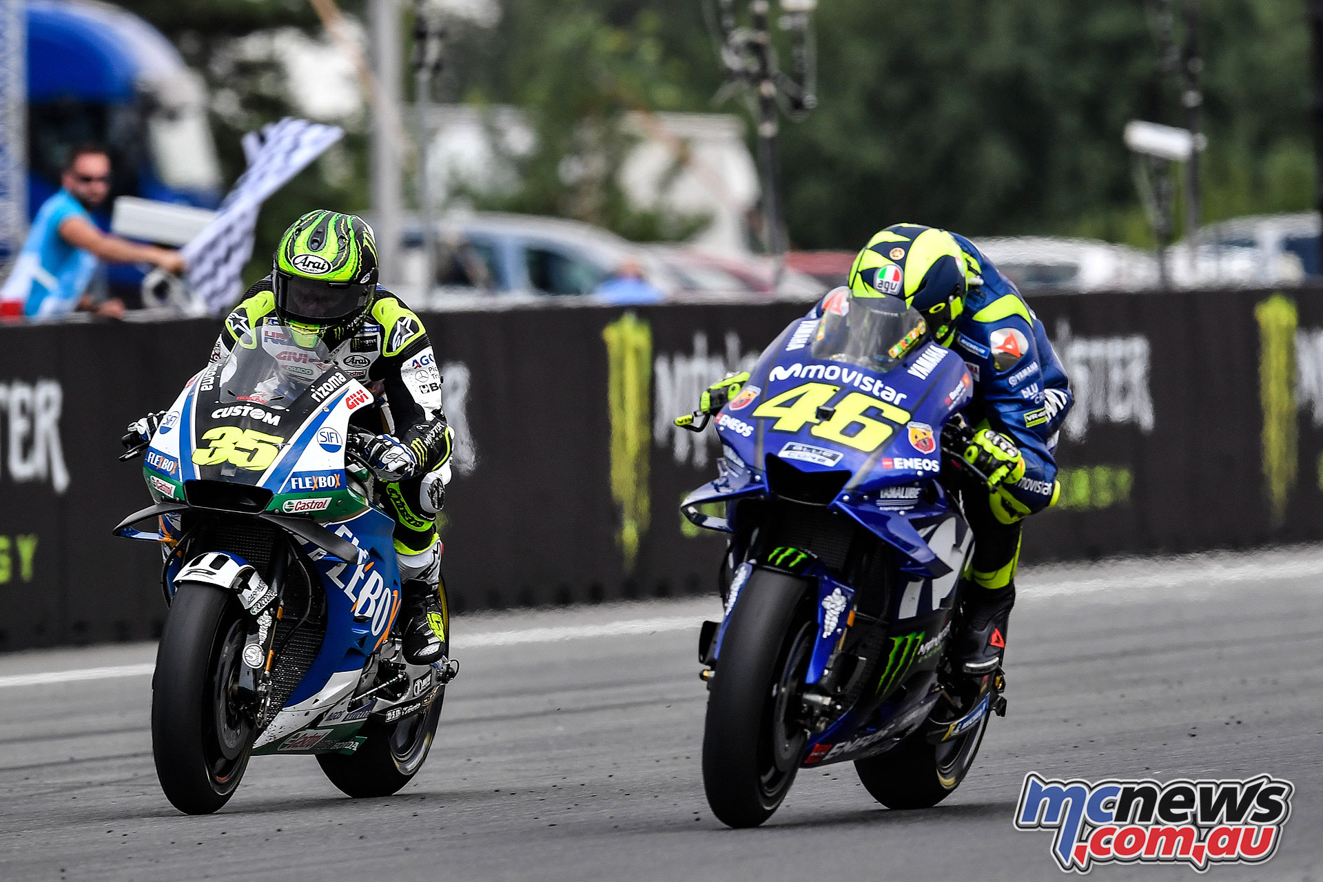Crutchlow and Rossi battled for fourth