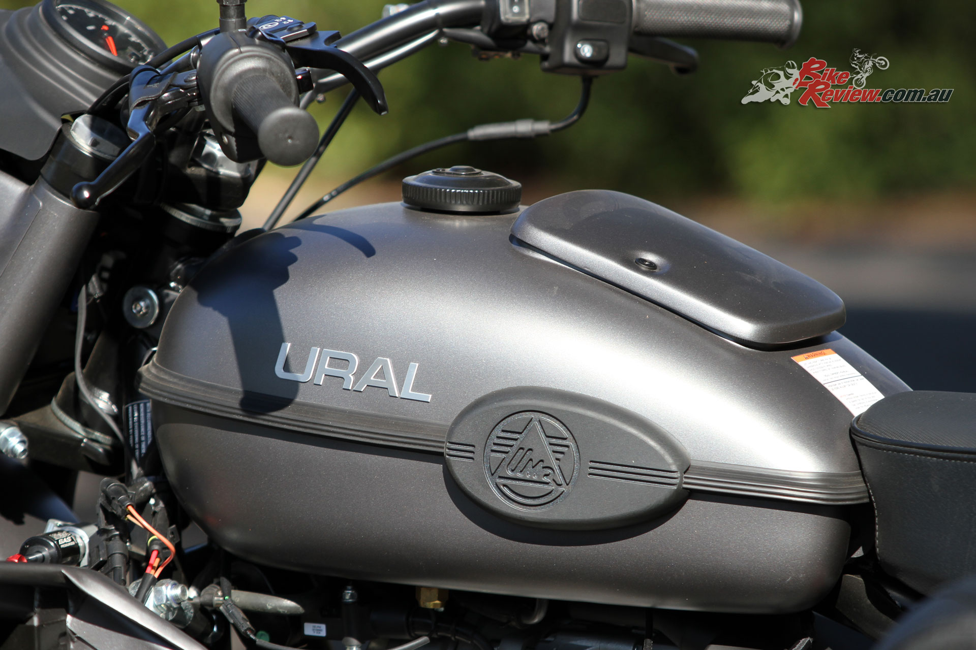 The Ural Ranger features a 19L fuel tank and a jerry can