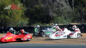 A rush into Turn 1 saw three sidecars take an excursion off-track