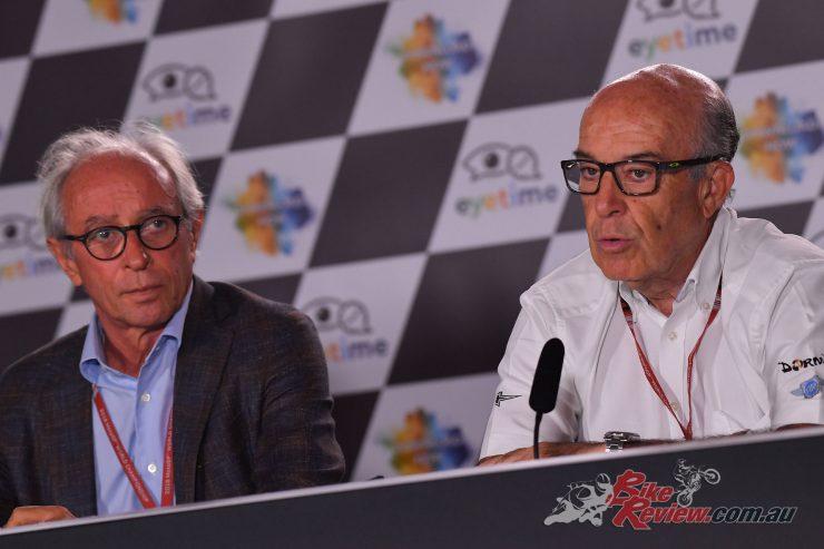 FIM President Vito Ippolito (L) and Dorna CEO Carmelo Ezpeleta (R)