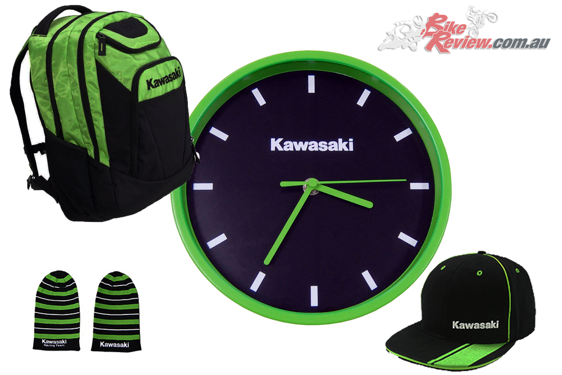 Kawasaki Ogio Backpack, Clock, Cap and Beanie