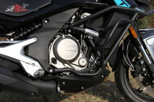 The liquid-cooled DOHC parallel-twin four-stroke with 180-degree crankshaft is well fueled, smooth, grunty and does run hot