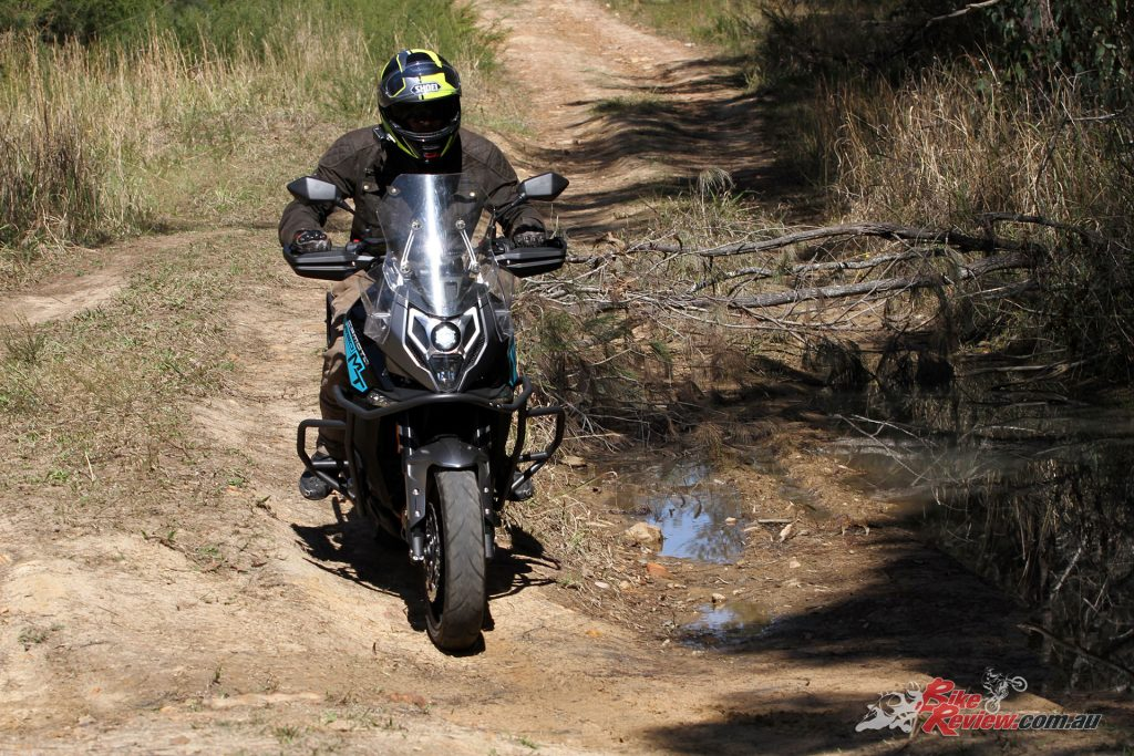 Despite road rubber the 650MT is also capable of the light adventure duties, especially with the crash bars