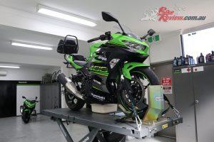 Our Kawasaki Ninja 400 at Kawasaki HQ in Sydney