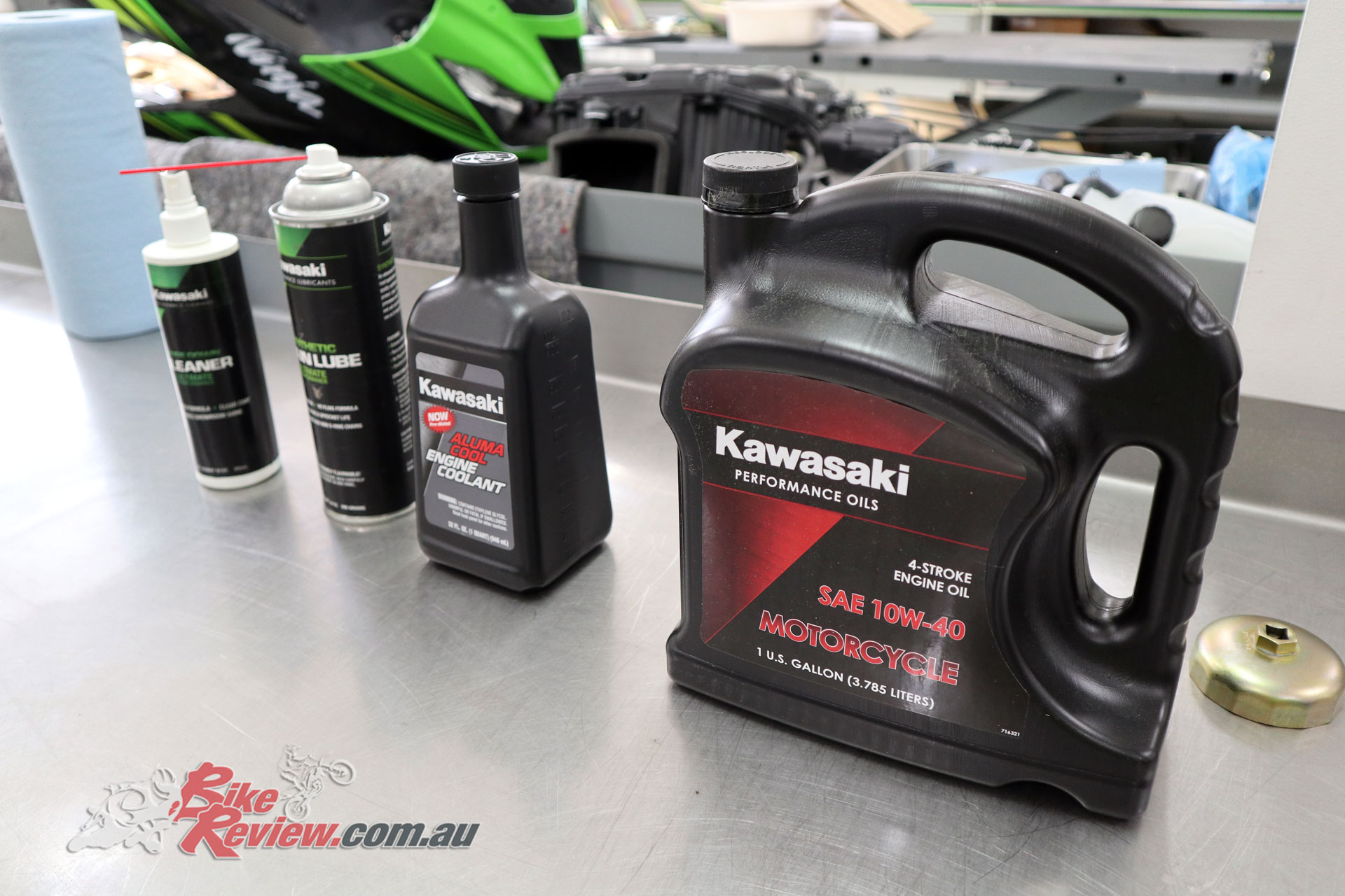 All the Kawasaki servicing consumables ready