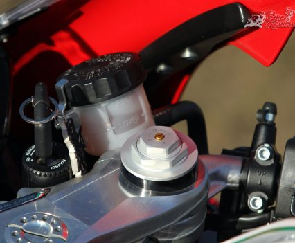 Suspension isn't Ohlins, however the package is highly adjustable and formidable