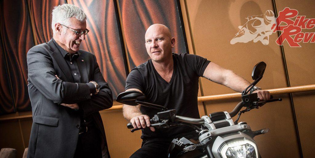 Warren and Ducati ambassador Chef Matt Moran at the Diavel launch, Aria Restaurant.